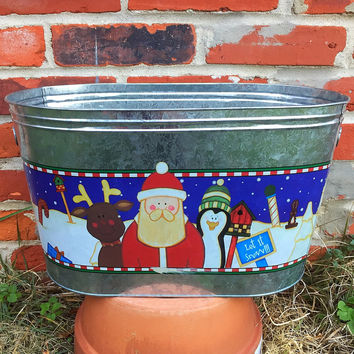 Christmas Galvanized Large Oval Tin - Christmas Friends