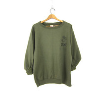 Drab Army Green United States Marine Corps Sweater Slouchy US Sweatshirt Hipster COED Size Large Grunge Indie Look