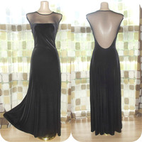 Vintage 90s Dramatic Sheer Mesh Open Back Bombshell Gown Avant-Garde Velvet Dress S/M