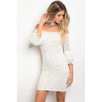 Ladies 3/4 Sleeve Off The Shoulder Lace Bodycon Dress With Pompom Tassel Of The Bell Sleeve Cuffs.