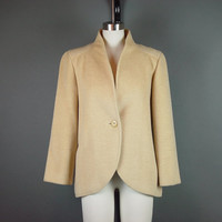 80s Tan Buttercream Wheat Coat Vintage 1980s Camel Short Single Button Cropped M