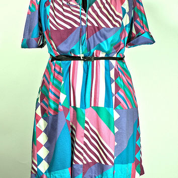 Vintage Abstract Color Block Saks Fifth Ave. Plus Size Dress