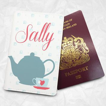 Cup of Tea Personalised Custom Name Passport Cover Passport Holder with FREE Name Printing (BBS009)