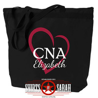 CNA Tote Bag Heart - Personalized Zippered Tote For CNA's - Nursing Nurse Large Black Bags