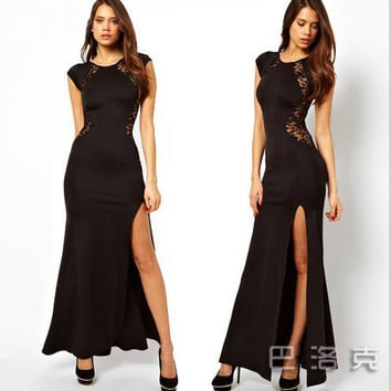 Black Cutout Lace Cap-Sleeve Maxi Dress With Slit