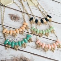Pastel Leaf Statement Necklace