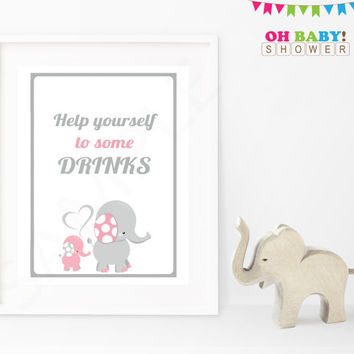 Please help yourself to some drinks Baby Shower Sign Pink Gray Elephant Printable Girl Download Baby Decor Baby Shower Table Sign EL0005-lp