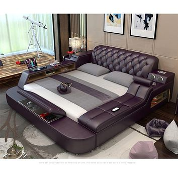 Genuine Leather Bed Frame Massager Storage Safe Speaker LED Light