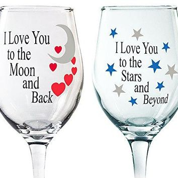 Wine Glass Set  I Love You to the Moon and Back Glasses  I Love You to the Stars and Beyond  Decorative Wine Glasses