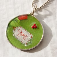 Green Christmas Card Pendant, Joy, Christmas Necklace