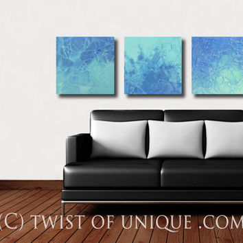 Seaglass watercolor abstract painting/  Custom 3 set watercolor abstract ( 15 x 15) / Beach house decor / Green, blue, seafoam, aqua, water
