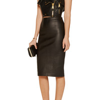 Moschino Cropped leather top – 70% at THE OUTNET.COM