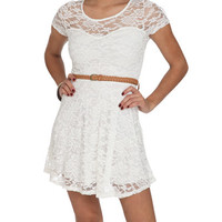 Belted Lace Skater Dress | Shop Dresses at Wet Seal