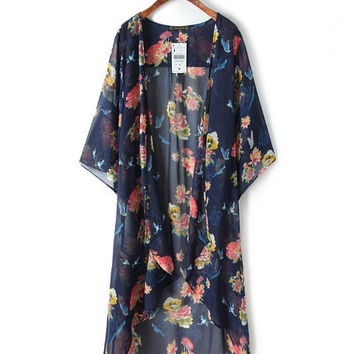 Blue Flowers and Birds Print Kimono