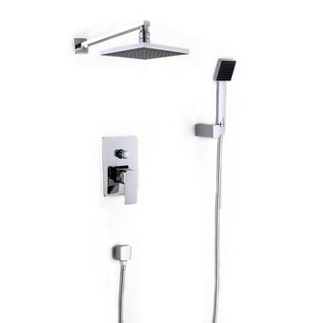 Wall Mounted Rainfall Shower Head Arm Control Valve Handspray Faucet Set Bathroom High Pressure Shower Set