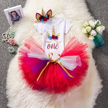 Cute Unicorn Outfits (Headband+Romper+Tutu) For Baby Girl First 1st Birthday Dress Little Princess Appliques Flower Dresses