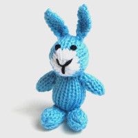 "Little Hand Knit Bunny - Stuffed Animal Easter Toy Bunny Doll - Baby Boy Newborn Photo Prop Blue Easter Bunny Rabbit Stuffed Toy 4 3/4"" Tall"