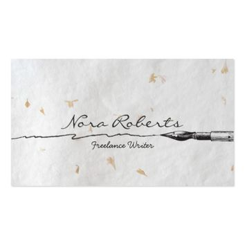 Black White Writers Authors Dip Pen Handmade Paper Business Card