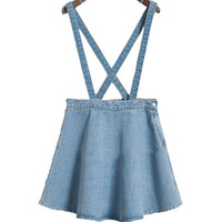 new Korean jean denim skirt thin umbrella big swing jeans skirt strap waist single buckle detachable suspenders skirts