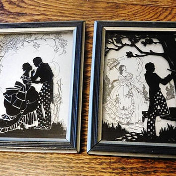 Reverse Painting Silhouettes on Glass Hearts and Sweethearts Pair Pictures 1933 Deltex Products Co Brooklyn NY Courting Couples Lovers