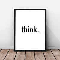 Think happy thoughts Motivational poster Positive thinking Printable quote Printable poster Scandinavian poster Instant download POSTER