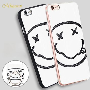 Minason Nirvana Face Mobile Phone Shell Soft TPU Silicone Case Cover for iPhone X 8 5 SE 5S 6 6S 7 Plus