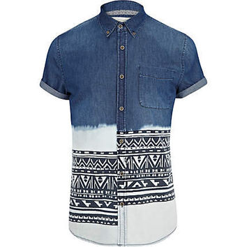 Mid wash dip dye aztec stripe denim shirt - printed shirts - shirts - men