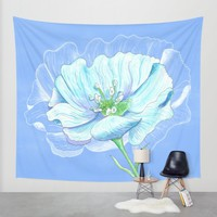 Blue Flower Wall Tapestry by Catherine Holcombe | Society6