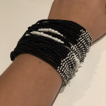 Hand Beaded Double Closure Cuff Bracelet