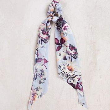 Shayla Grey Floral Scrunchie