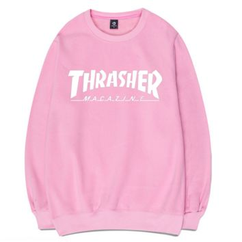 Pink Thrasher Magazine Flame Print Long Sleeve Sweatershirt Pullover