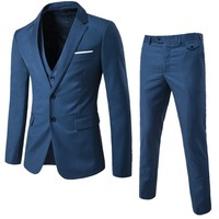2018 Business Casual Blue Suit Three Suits Men's Wedding Fashion Men's Suits