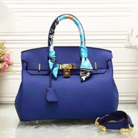 HERMES Women Shopping Leather Crossbody Satchel Shoulder Bag blue