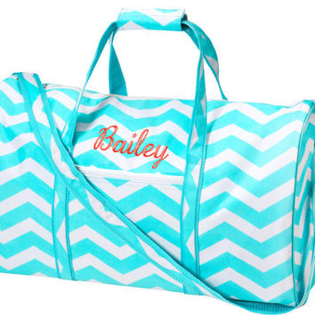 Large Duffel Bag Aqua Chevron Tote   Monogrammed by SweetMonograms