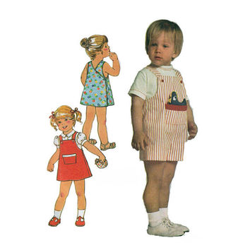 """1970's Simplicity 8047 Toddler's Back-Wrap Dress, Jumper and Overalls and Stuffed Toy Size 1/2 