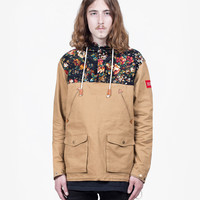 Garden Floral Parka Jacket in Khaki Tan