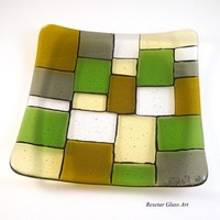 Fused Glass Plate Dish or Candle Holder, Green Gray Gold, 7 inch