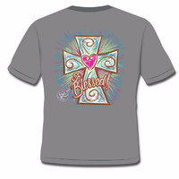 Sassy Frass So Blessed Heart Cross Christian Bright Girlie T Shirt