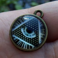 2 Glass bubble charms on bronze plate with illuminati all seeing eye in pyramid eye of providence evil eye image ~ F225