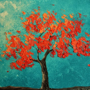 Coral and Deep Turquoise Tree Original Painting
