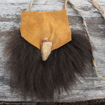 Large Medicine Bag, Purse, Tan Bison Leather, Buffalo Fur, Buffalo Tooth, Mississippi Native American Arrowhead, Thick Braided Strap
