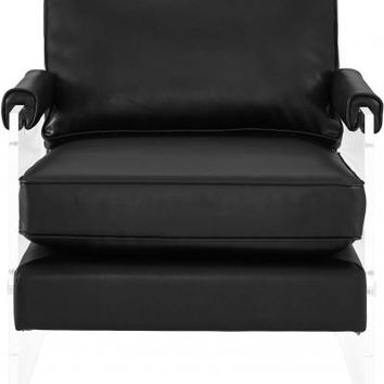 SELENA BLACK ECO LEATHER AND LUCITE CHAIR
