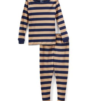 Navy & Beige Stripe Pajama Set - Infant, Toddler & Kids