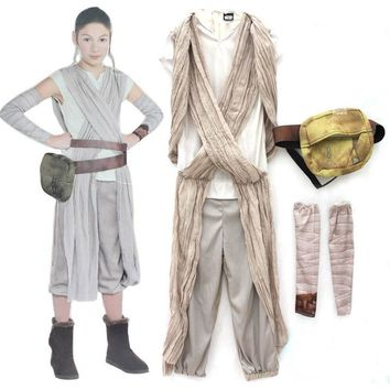 Children Star Wars Rey princess Cosplay Costume Movie Force Awakens Halloween cosplay costume for kids Party girls dress