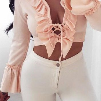 Pink Ruffle Lace-up Deep V-neck Flare Sleeve Club Crop T-shirt