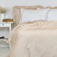 Ruffle Duvet Cover in Twin Twin XL Full Queen King Size - Sand Beige, Latte Cotton Sateen - Custom, Luxury, Elegant, Shabby Chic Bedding