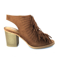 Fan of Fringe Bootie Heels In Chestnut Brown