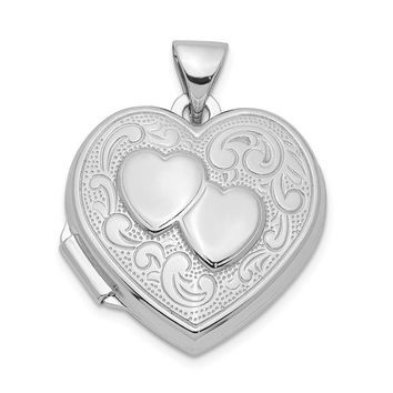 Sterling Silver 18mm Double Design Heart Shaped Locket