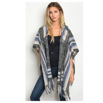 Cozy Me, Fringe Trim Hooded Charcoal, Blue Poncho
