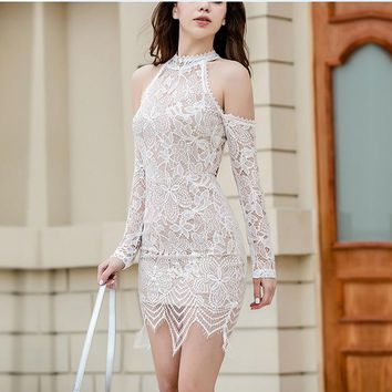 New fashion sexy off shoulder halter lace hollow long sleeve dress
